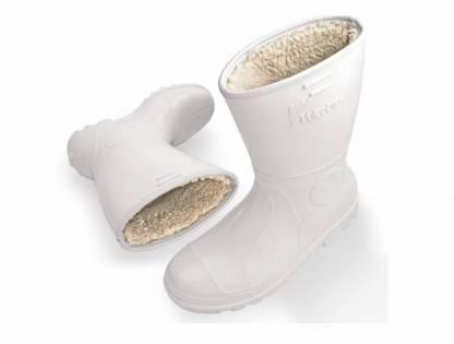 Bota PVC branca forrada com lã